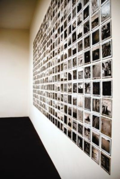 Installation view, Lannan Foundation. Michael Berman, 480 Plates. Fine silver prints on aluminum plates. Photo by Robert Brady