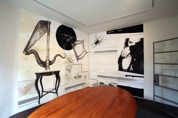Installation view, Lannan Foundation: James Drake, Anatomy of Drawing and Space (Brain Trash). Photos: Addison Doty