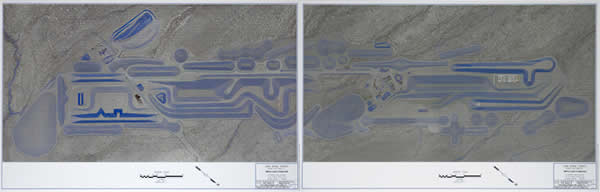 Aerial survey photograph of Michael Heizer's The City (Aerial Photograph of