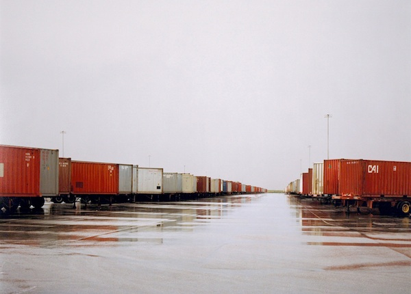 Untitled, 2000 (Red Containers, wet ground, Ft. Worth, TX)