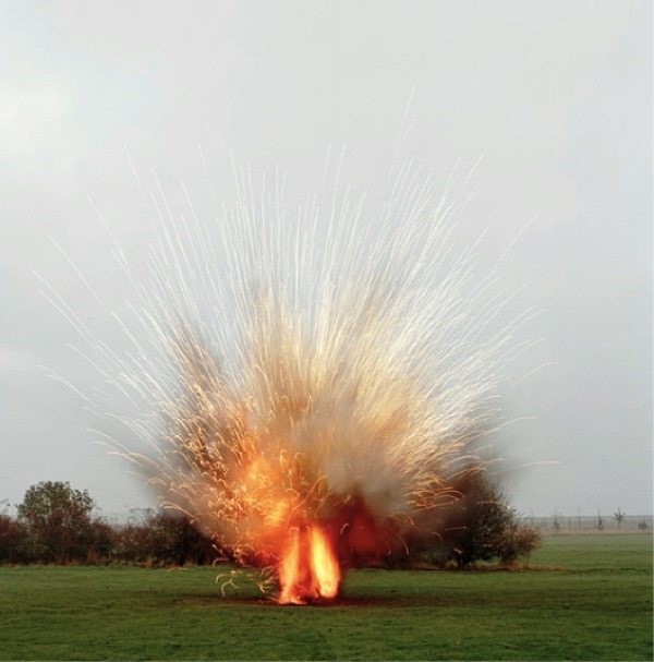 Sarah Pickering. Explosion—Landmine, 2005, Chromogenic print, 49 x 49 inches.Collection Lannan Foundation