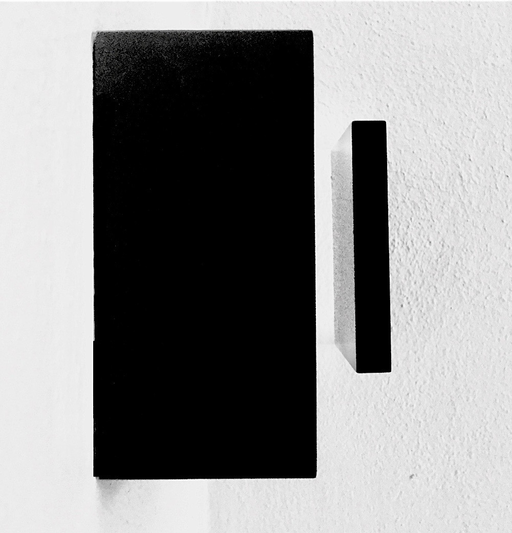 Susan York Composition Two Black Squares Installed Image