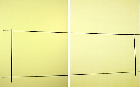 Grey And Blue Fence Skewed On Two Yellows Kate Shepherd