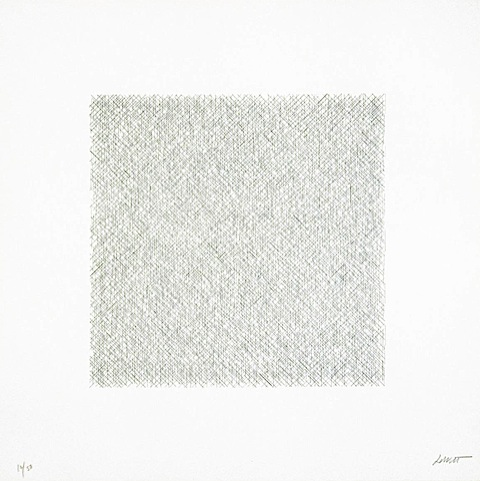 Straight lines, approximately one inch long, drawn at random, within a square using four direction by sol lewitt