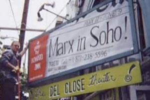 photo of marx in soho theater marquis sign