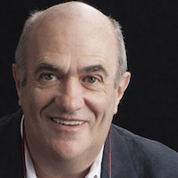 photo of Colm Tóibín with Michael Silverblatt