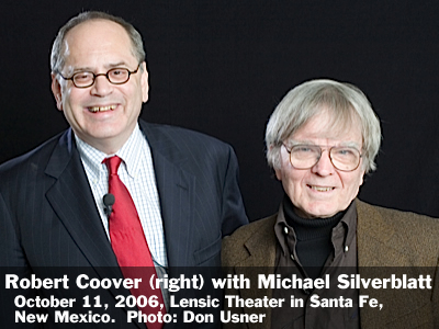 Robert Coover (right) in conversation with Michael Silverblatt at the Lensic Theater in Santa Fe, New Mexico, Wednesday, October 11, 2006. Photo: Don Usner