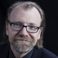 photo of George Saunders with Michael Silverblatt