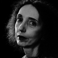 photo of Joyce Carol Oates with Michael Silverblatt