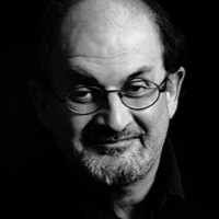 photo of Salman Rushdie with Michael Silverblatt